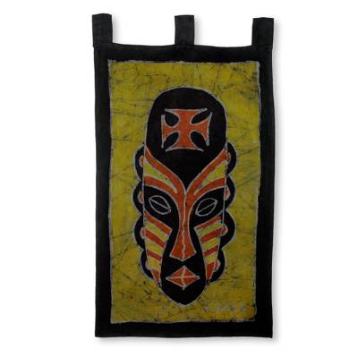 African Handmade Yellow Batik Wall Hanging