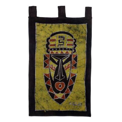 Cotton batik wall hanging, 'Take Initiative' - African Mask Theme Artisan Crafted Batik Wall Hanging