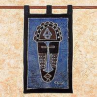 Cotton batik wall hanging, 'Justice' - Blue Batik Wall Hanging Handcrafted in Africa
