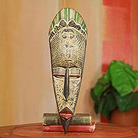 African mask, 'Soul of Fertility' - Hand Carved African Mask with Fertility Doll Theme