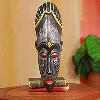 African wood mask, 'Amadi' - Hand Carved Wood Mask with Embossed Metal Plates
