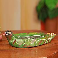 Wood catchall, 'African Duck' - Hand Carved African Decorative Wood Catch All Tray