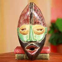 African mask, 'Akan Strength' - Rustic Hand Carved African Mask from Ghana