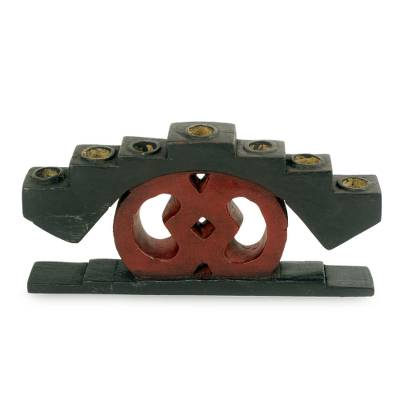 Handcrafted African Wood Candleholder for Seven Tapers