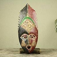 African mask, 'Akan Area Chief' - Ghanaian Artisan Crafted African Mask