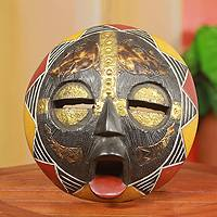 African mask, 'Rhino' - Authentic Artisan Hand Crafted African Wood Mask
