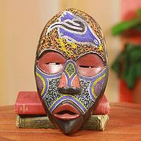 African mask, 'Dan Tribal Bird' - Hand Carved Beaded African Mask from the Dan Tribe
