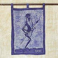 Batik cotton wall hanging, 'Mystic Mamfe Hunter in Lapis' - Batik Cotton Wall Hanging of an African Hunter in Lapis