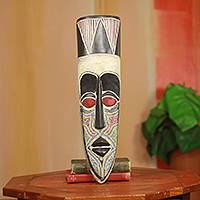 African beaded wood mask, 'Opanyin Pa' - Original African Wood Mask Crafted by Hand with Glass Beads