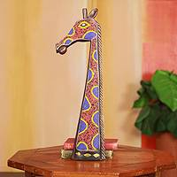 African beaded wood carving, 'Psychedelic Giraffe' - Beaded African Wood Wall Carving in Orange and Blue