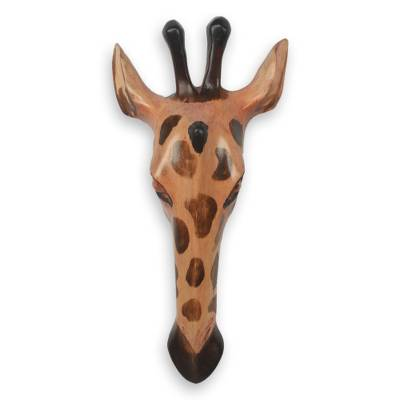 African wood mask, 'Noble Giraffe' - Fair Trade African Wood Wall Mask Carved by Hand in Ghana
