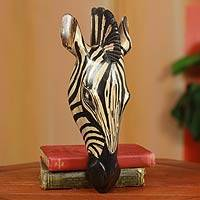 African wood mask, 'Noble Zebra' - Fair Trade African Wood Wall Mask Carved by Hand in Ghana