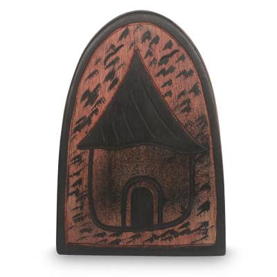 Oware wood table game, 'Home' - Authentic Hand Carved Wood African Oware Table Game