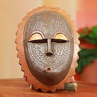 African wood mask, 'Sun' - Hand Crafted Wood Mask with Embossed aluminium and Brass