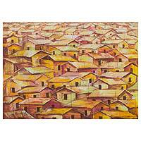 'Unity House III' - African Urban Architectural Painting in Brown and Yellow