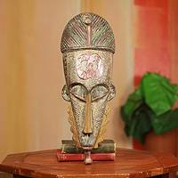 African wood mask, 'Honesty' - Hand Carved African Wood Mask with Adinkra Wisdom Symbol