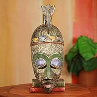 African wood mask, 'Nhyira' - Fair Trade African Mask Carved by Hand with Dove on Crown