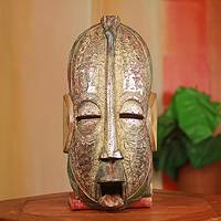 African wood mask, 'Preacher' - Original African Mask Hand Crafted with Local Wood and Metal