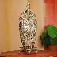 African wood mask, 'Victory' - Fair Trade African Mask Carved by Hand in Ghana