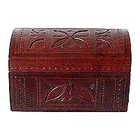 Mahogany and leather decorative box, 'The Garden' - Mahogany and leather decorative box