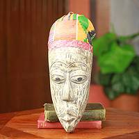 African mask, 'Elder Ewe Gentleman' - Ewe Tribal African Mask with Kente Cloth from Ghana