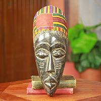 African mask, 'Man from Kumawu' - Hand Carved Ashanti Tribal African Mask with Kente Cloth