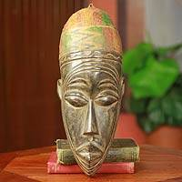 African mask, 'Young Mossi Man' - Mossi Tribe Hand Carved African Mask with Kente Cloth