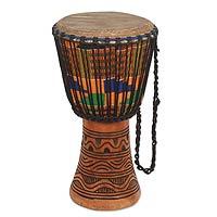 Wood djembe drum, 'Joyous Beat'