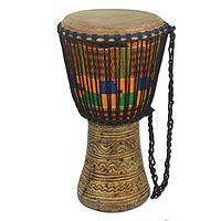 Wood djembe drum, 'Time for Fun' - Handcrafted African Djembe Drum with Inlay and Kente Cloth