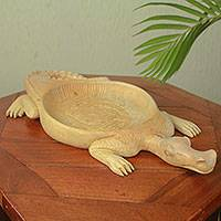 Wood decorative tray, 'African Crocodile' - Adinkra Alligator Theme Hand Carved Wood Tray