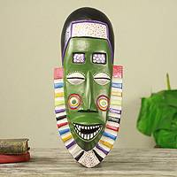 African wood mask, 'Carnival' - Smiling Green African Wood Mask Crafted by Hand