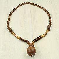 Wood beaded necklace, 'It Had to Be You' - Artisan Crafted Necklace African Fair Trade Jewelry