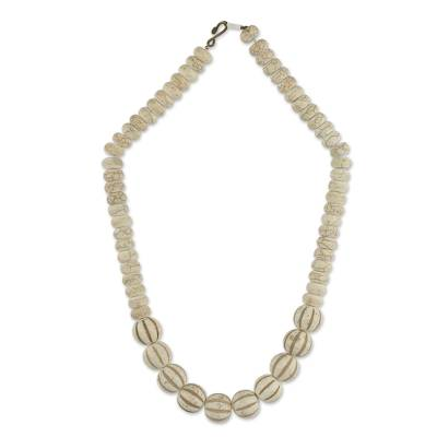Beaded agate necklace, 'Truest Heart' - Fair Trade African Cream-Colored Agate Beaded Necklace