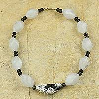 Agate beaded pendant necklace, 'Dream Come True' - Black and White Beaded Necklace with Agate Pendant