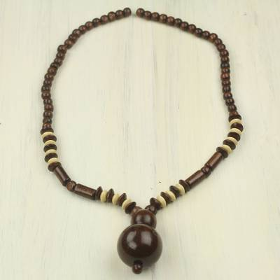Wood beaded necklace, 'Joy Ride' - Fair Trade West African Beaded Wood Necklace