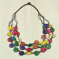 Beaded coconut shell necklace, 'Easy Living'