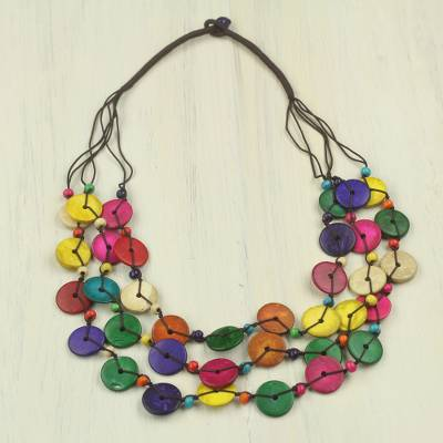 Beaded coconut shell necklace, 'Easy Living' - Colorful Necklace Hand Crafted of Coconut Shell Beads