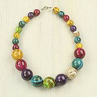 Recycled beaded necklace, 'Wild Planet' - Eco-Friendly colourful Recycled Plastic Bead Necklace