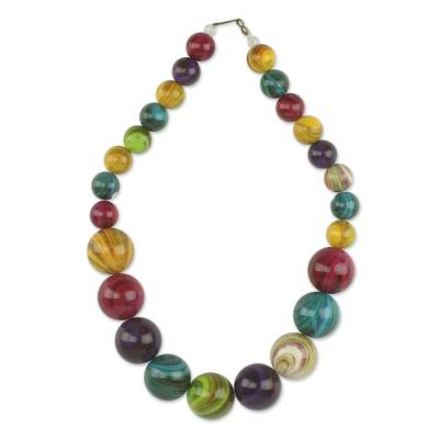 Recycled beaded necklace, 'Wild Planet' - Eco-Friendly Colorful Recycled Plastic Bead Necklace