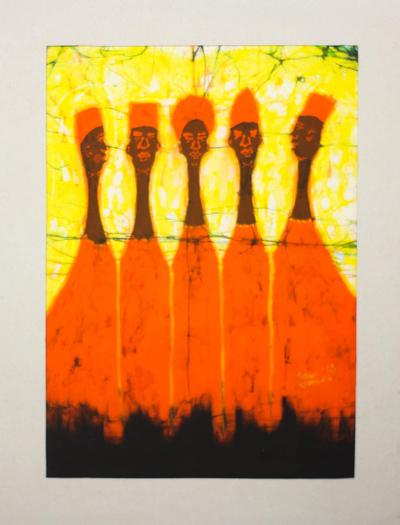 Batik art, 'Five in Orange' - Original Signed Matted Cotton Batik Art from Africa