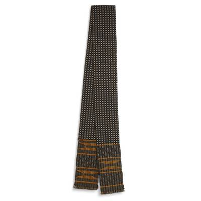 Cotton blend kente cloth scarf, 'Pebbles' - Handmade Double Weave Cotton Blend Kente Cloth Scarf