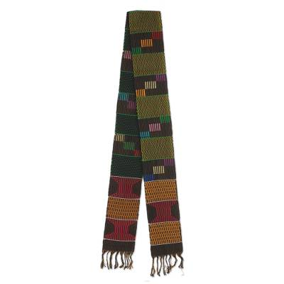 Cotton blend kente cloth scarf, 'African Net' - Green and Multicolor Cotton Blend Kente Cloth Scarf