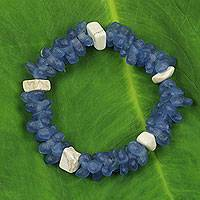 Recycled glass and agate bracelet, 'Forever True' - Handmade Stretch Bracelet of Recycled Glass and Agate