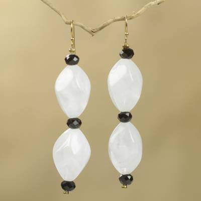 Beaded earrings, 'Dream Come True' - Black and White Recycled Beads on Artisan Crafted Earrings