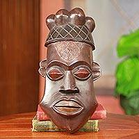 African wood mask, Young Akan Prince' - Akan Prince Wall Mask Original Design in Hand Carved Wood