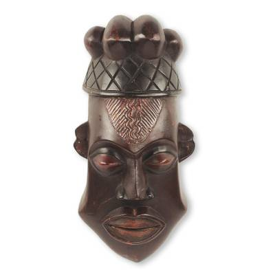 Akan Prince Wall Mask Original Design in Hand Carved Wood