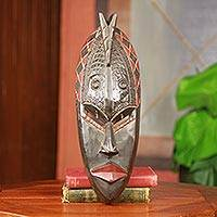 African wood mask, 'Reach the Creator' - Black and Brown Artisan Carved African Mask