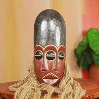 African wood and jute mask, 'Tete Na' - Original African Wood Mask with Jute Beard and Three Eyes