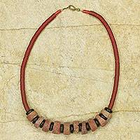 Bauxite beaded necklace, 'Sena' - Bauxite and Recycled Beads Hand Crafted Necklace