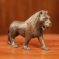 Ebony sculpture, 'Lion Majesty' - Realistic Hand Carved Ebony Lion Sculpture from Africa